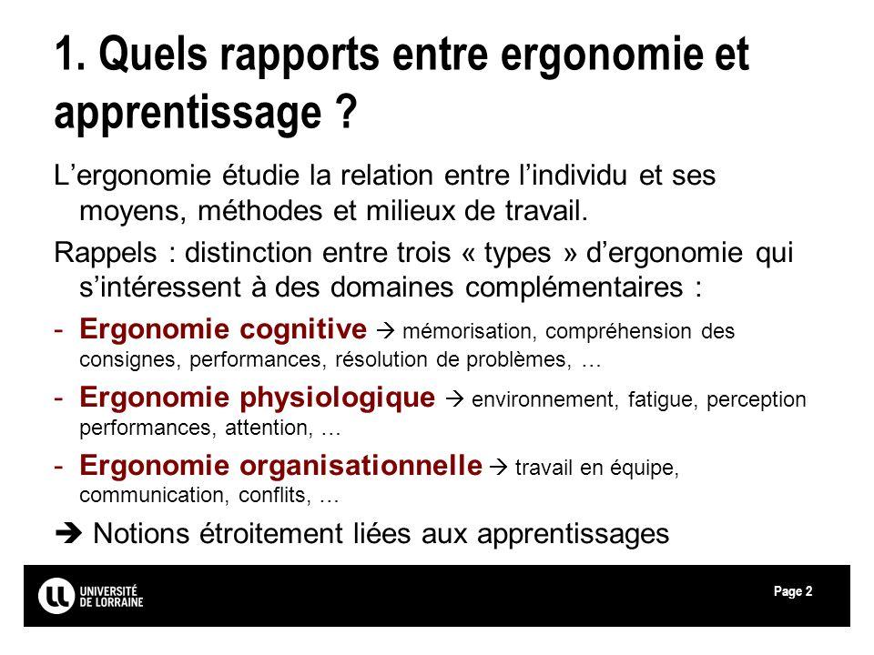 Page 1. Quels rapports entre ergonomie et apprentissage ? Lergonomie étudie la relation entre lindividu et ses moyens, méthodes et milieux de travail.