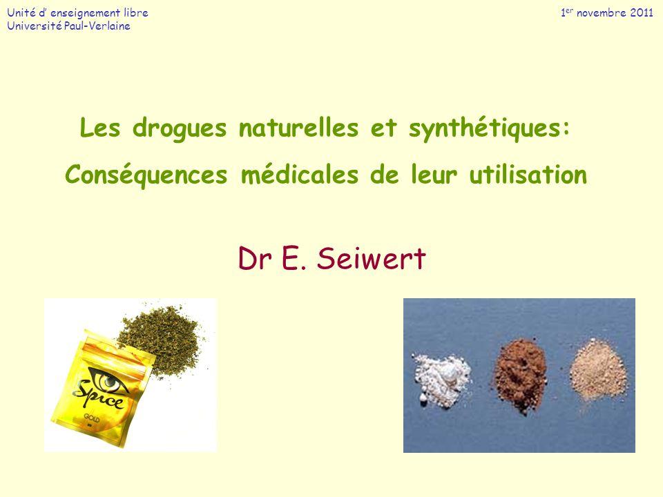 Les drogues naturelles et synthétiques: Conséquences médicales de leur utilisation Dr E. Seiwert Unité d enseignement libre 1 er novembre 2011 Univers