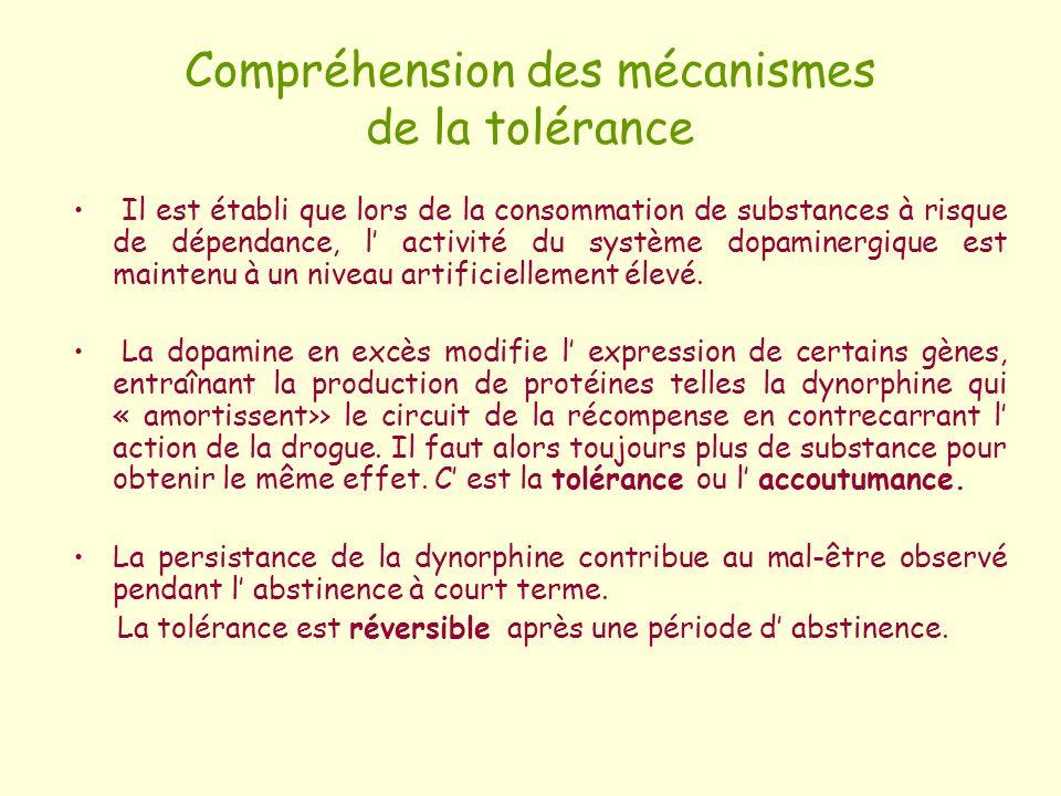 Compréhension des mécanismes de la tolérance Il est établi que lors de la consommation de substances à risque de dépendance, l activité du système dop