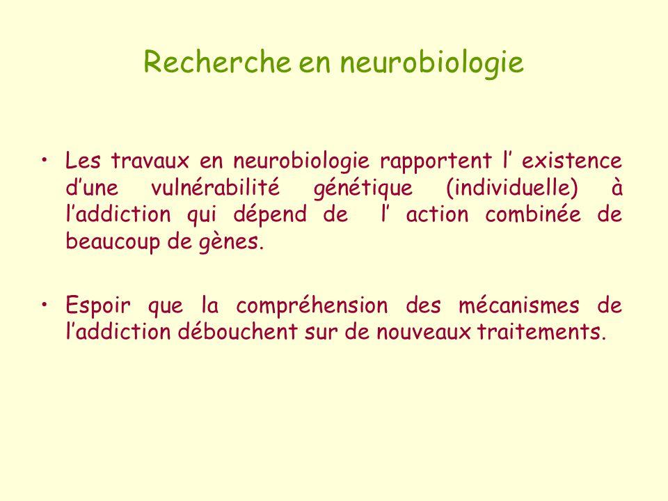 Recherche en neurobiologie Les travaux en neurobiologie rapportent l existence dune vulnérabilité génétique (individuelle) à laddiction qui dépend de