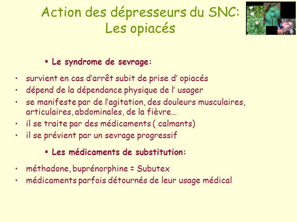 Le syndrome de sevrage: survient en cas darrêt subit de prise d opiacés dépend de la dépendance physique de l usager se manifeste par de lagitation, d