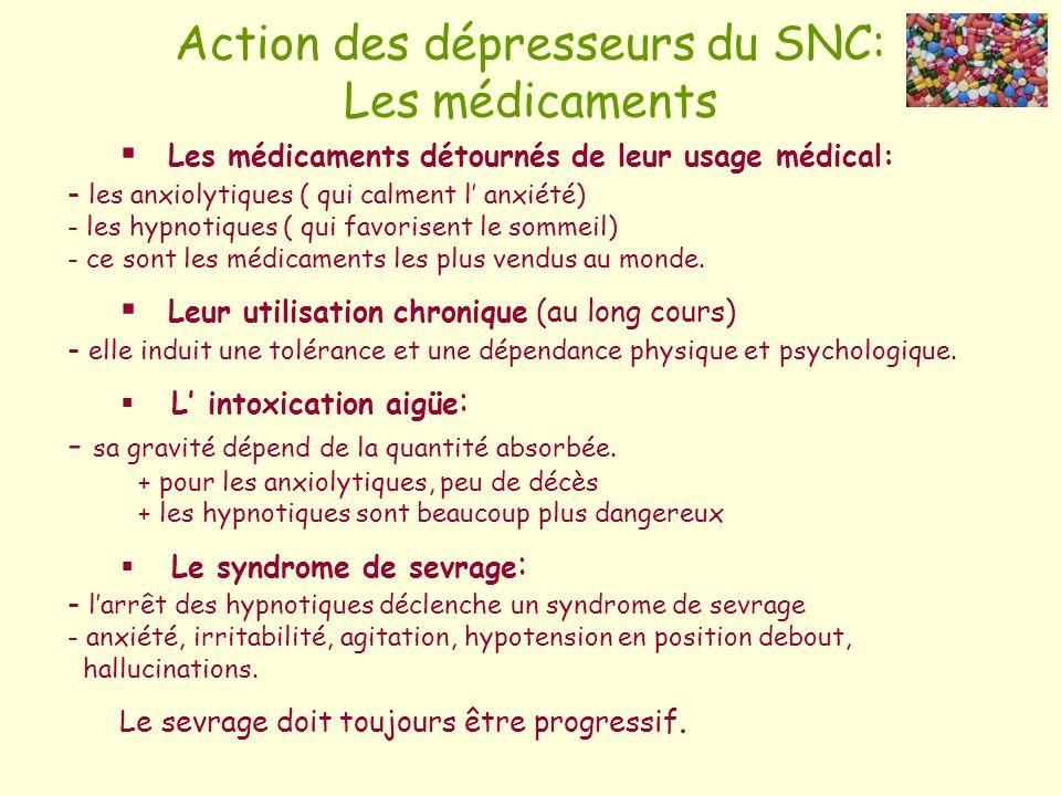Action des dépresseurs du SNC: Les médicaments Les médicaments détournés de leur usage médical: - les anxiolytiques ( qui calment l anxiété) - les hyp