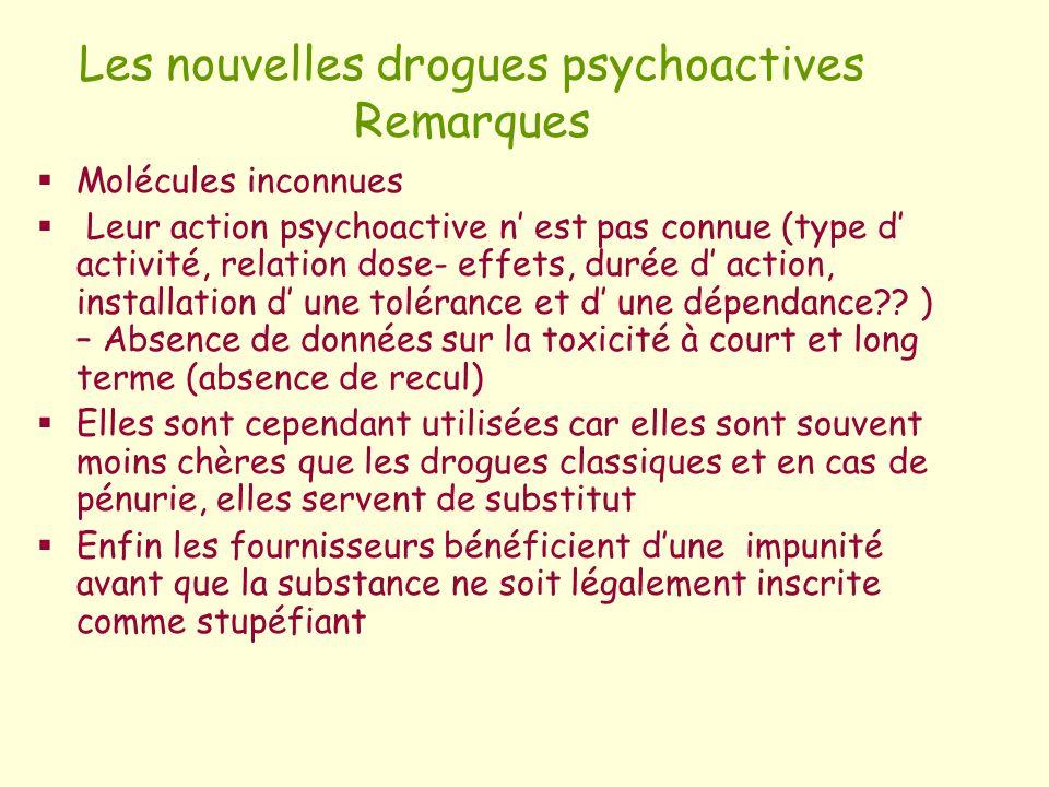 Les nouvelles drogues psychoactives Remarques Molécules inconnues Leur action psychoactive n est pas connue (type d activité, relation dose- effets, d