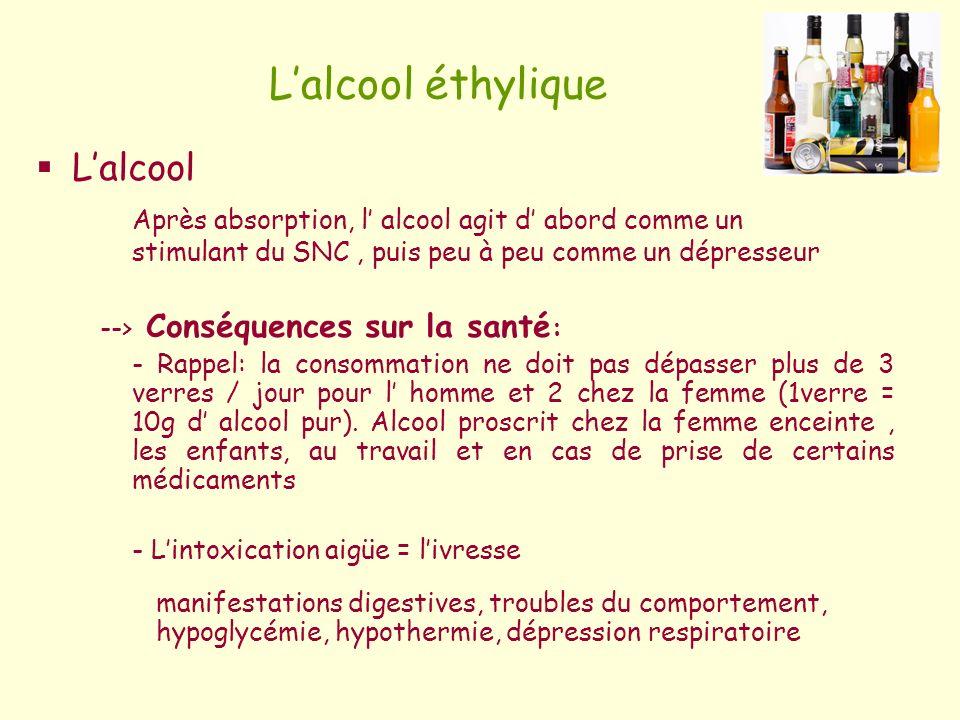 Lalcool éthylique Lalcool Après absorption, l alcool agit d abord comme un stimulant du SNC, puis peu à peu comme un dépresseur --> Conséquences sur l
