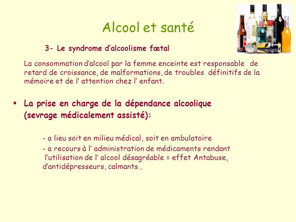 Alcool et santé 3- Le syndrome dalcoolisme fœtal La consommation dalcool par la femme enceinte est responsable de retard de croissance, de malformatio