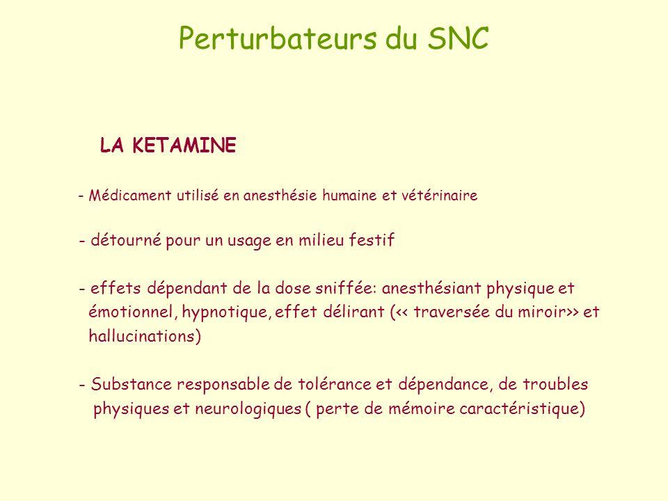Perturbateurs du SNC LA KETAMINE - Médicament utilisé en anesthésie humaine et vétérinaire - détourné pour un usage en milieu festif - effets dépendan