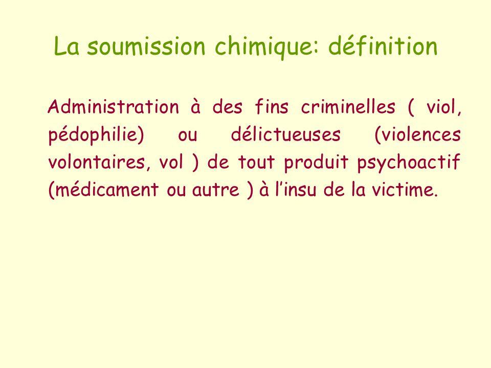 La soumission chimique: définition Administration à des fins criminelles ( viol, pédophilie) ou délictueuses (violences volontaires, vol ) de tout pro
