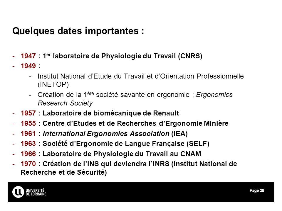 Page28 Quelques dates importantes : -1947 : 1 er laboratoire de Physiologie du Travail (CNRS) -1949 : -Institut National dEtude du Travail et dOrienta