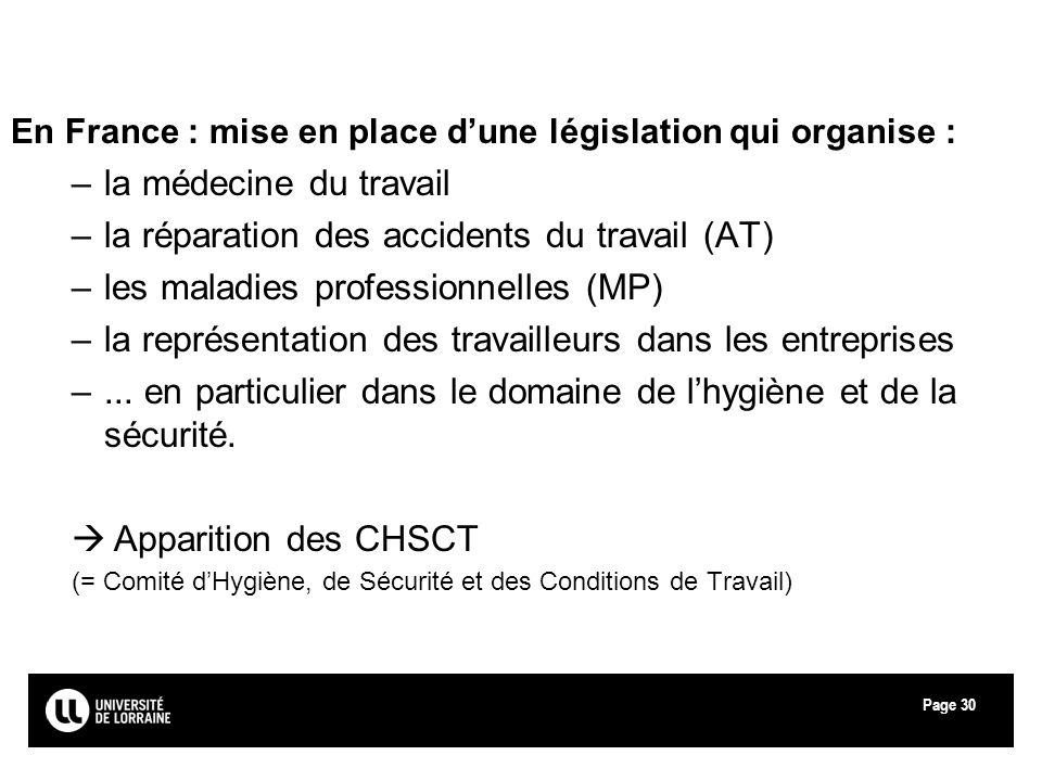 Page30 En France : mise en place dune législation qui organise : –la médecine du travail –la réparation des accidents du travail (AT) –les maladies pr