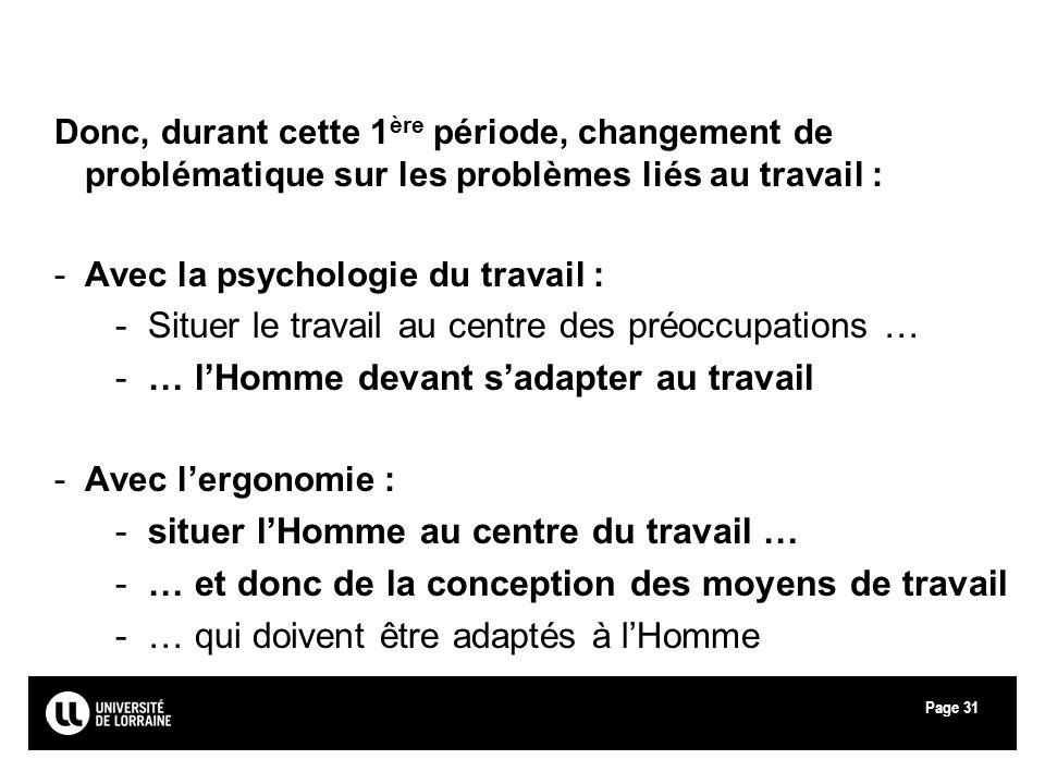 Page31 Donc, durant cette 1 ère période, changement de problématique sur les problèmes liés au travail : -Avec la psychologie du travail : -Situer le