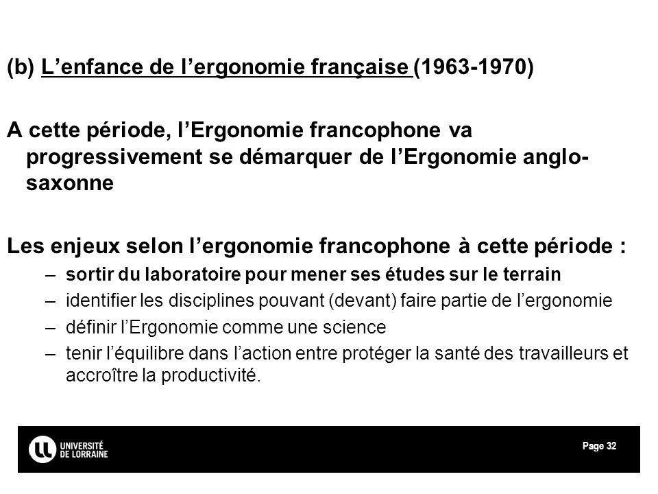 Page32 (b) Lenfance de lergonomie française (1963-1970) A cette période, lErgonomie francophone va progressivement se démarquer de lErgonomie anglo- s