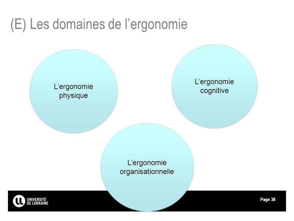 Page38 (E) Les domaines de lergonomie Lergonomie physique Lergonomie cognitive Lergonomie organisationnelle