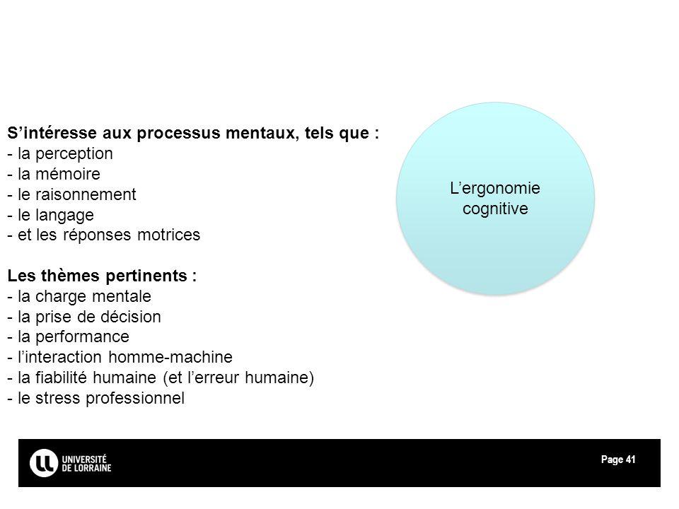 Page41 Lergonomie cognitive Sintéresse aux processus mentaux, tels que : - la perception - la mémoire - le raisonnement - le langage - et les réponses