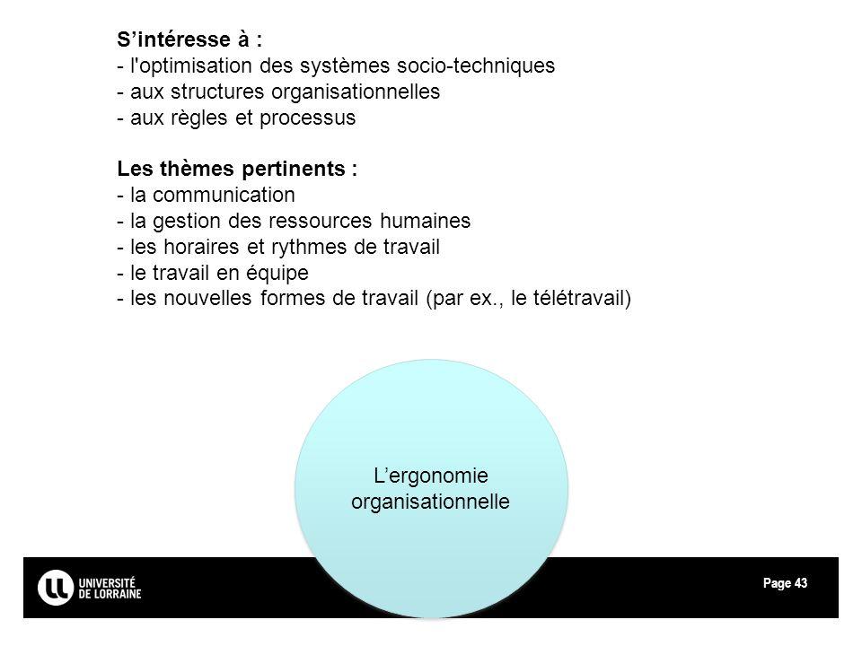 Page43 Lergonomie organisationnelle Sintéresse à : - l'optimisation des systèmes socio-techniques - aux structures organisationnelles - aux règles et