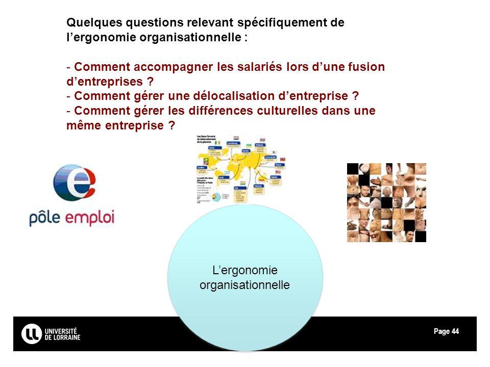 Page44 Lergonomie organisationnelle Quelques questions relevant spécifiquement de lergonomie organisationnelle : - Comment accompagner les salariés lo