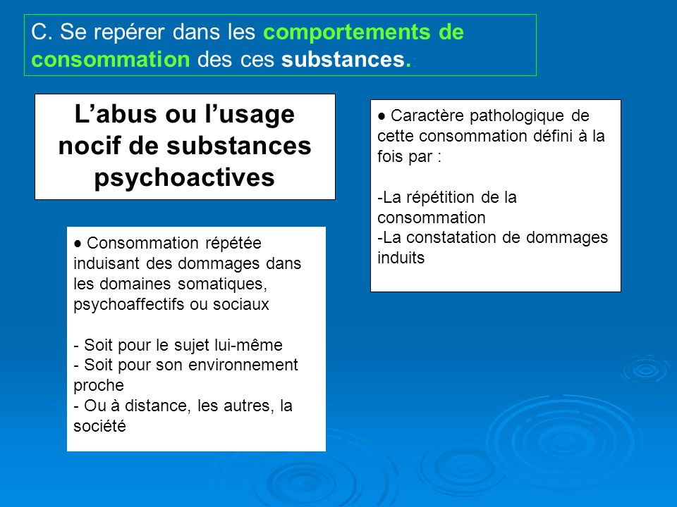 Labus ou lusage nocif de substances psychoactives C.