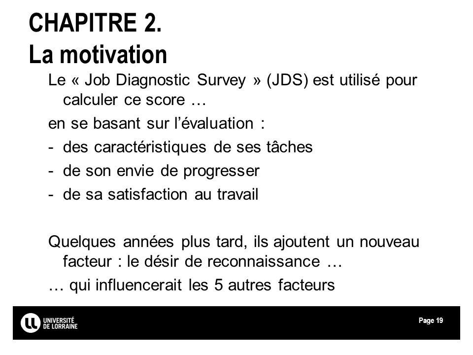 Page19 CHAPITRE 2. La motivation Le « Job Diagnostic Survey » (JDS) est utilisé pour calculer ce score … en se basant sur lévaluation : -des caractéri