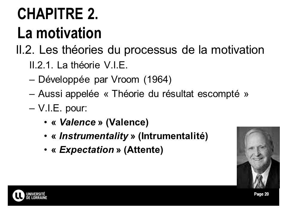 Page20 CHAPITRE 2. La motivation II.2. Les théories du processus de la motivation II.2.1. La théorie V.I.E. –Développée par Vroom (1964) –Aussi appelé