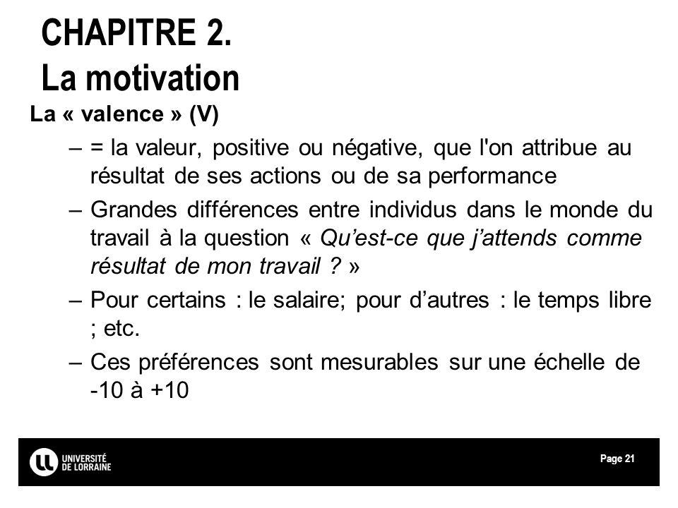 Page21 CHAPITRE 2. La motivation La « valence » (V) –= la valeur, positive ou négative, que l'on attribue au résultat de ses actions ou de sa performa