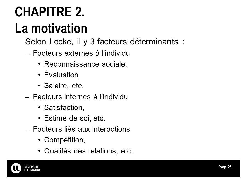 Page25 CHAPITRE 2. La motivation Selon Locke, il y 3 facteurs déterminants : –Facteurs externes à lindividu Reconnaissance sociale, Évaluation, Salair