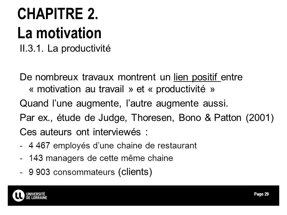 Page29 CHAPITRE 2. La motivation II.3.1. La productivité De nombreux travaux montrent un lien positif entre « motivation au travail » et « productivit