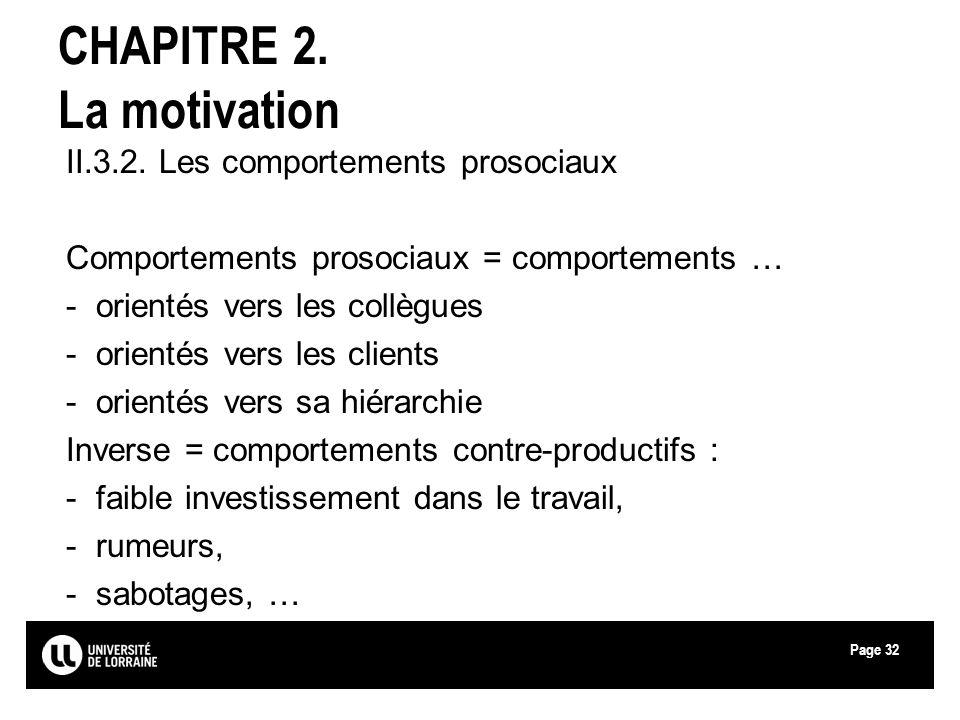 Page32 CHAPITRE 2. La motivation II.3.2. Les comportements prosociaux Comportements prosociaux = comportements … -orientés vers les collègues -orienté