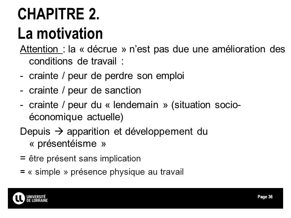 Page36 CHAPITRE 2. La motivation Attention : la « décrue » nest pas due une amélioration des conditions de travail : -crainte / peur de perdre son emp