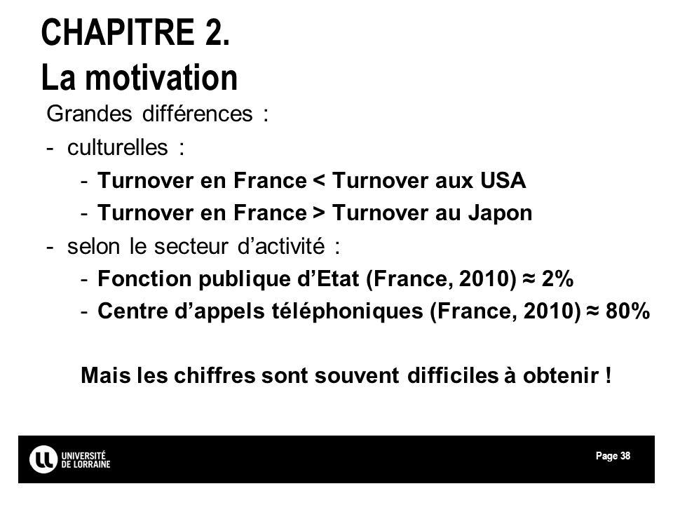 Page38 CHAPITRE 2. La motivation Grandes différences : -culturelles : -Turnover en France < Turnover aux USA -Turnover en France > Turnover au Japon -