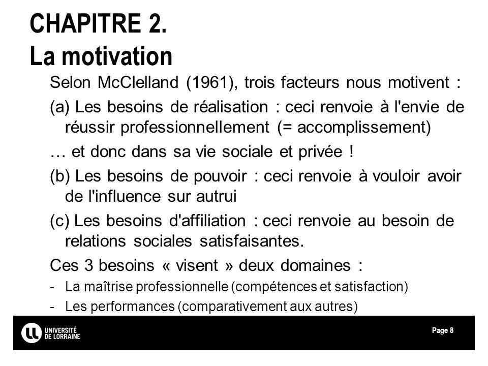 Page8 CHAPITRE 2. La motivation Selon McClelland (1961), trois facteurs nous motivent : (a) Les besoins de réalisation : ceci renvoie à l'envie de réu