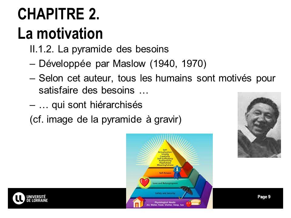 Page9 CHAPITRE 2. La motivation II.1.2. La pyramide des besoins –Développée par Maslow (1940, 1970) –Selon cet auteur, tous les humains sont motivés p