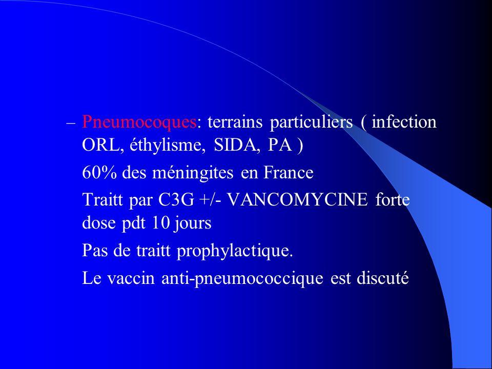 – Pneumocoques: terrains particuliers ( infection ORL, éthylisme, SIDA, PA ) 60% des méningites en France Traitt par C3G +/- VANCOMYCINE forte dose pd