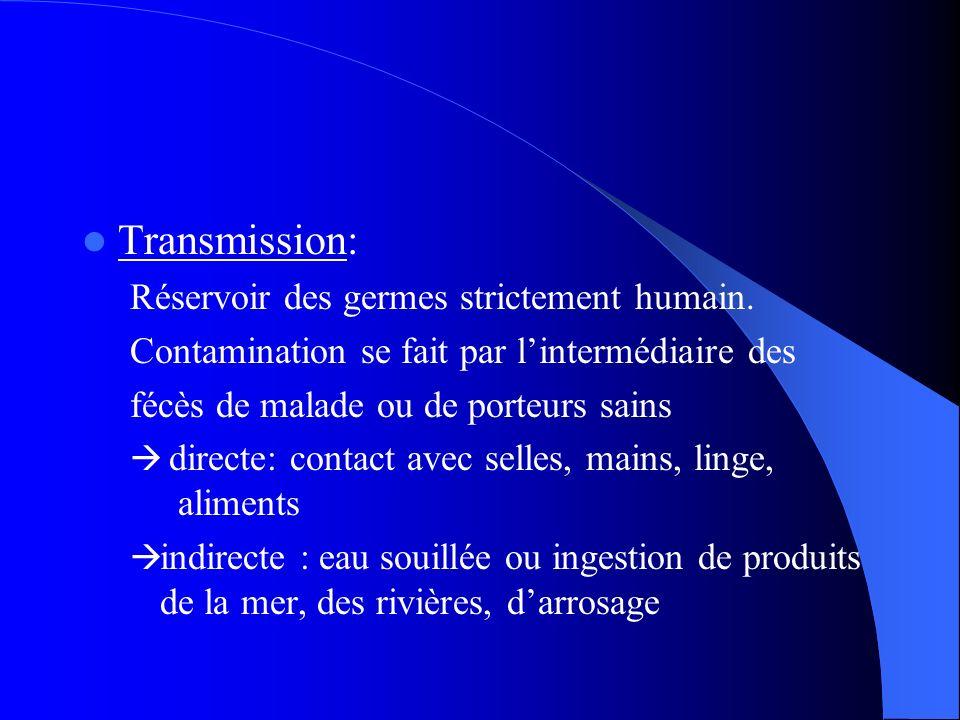 Transmission: Réservoir des germes strictement humain. Contamination se fait par lintermédiaire des fécès de malade ou de porteurs sains directe: cont