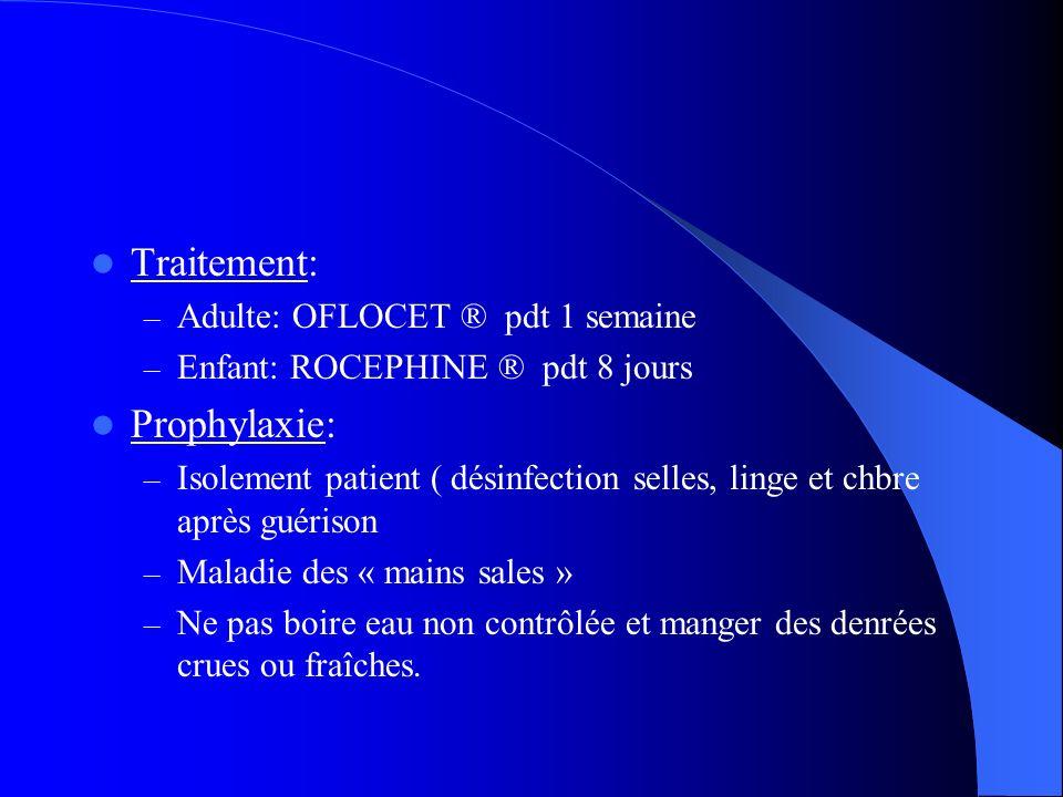 Traitement: – Adulte: OFLOCET ® pdt 1 semaine – Enfant: ROCEPHINE ® pdt 8 jours Prophylaxie: – Isolement patient ( désinfection selles, linge et chbre