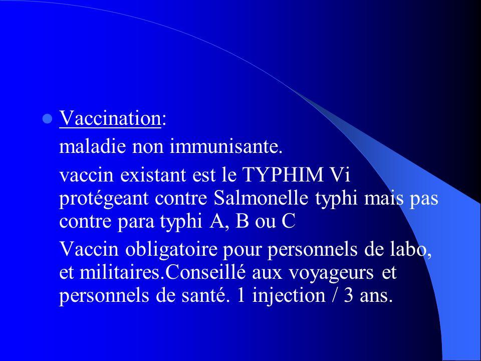 Vaccination: maladie non immunisante. vaccin existant est le TYPHIM Vi protégeant contre Salmonelle typhi mais pas contre para typhi A, B ou C Vaccin