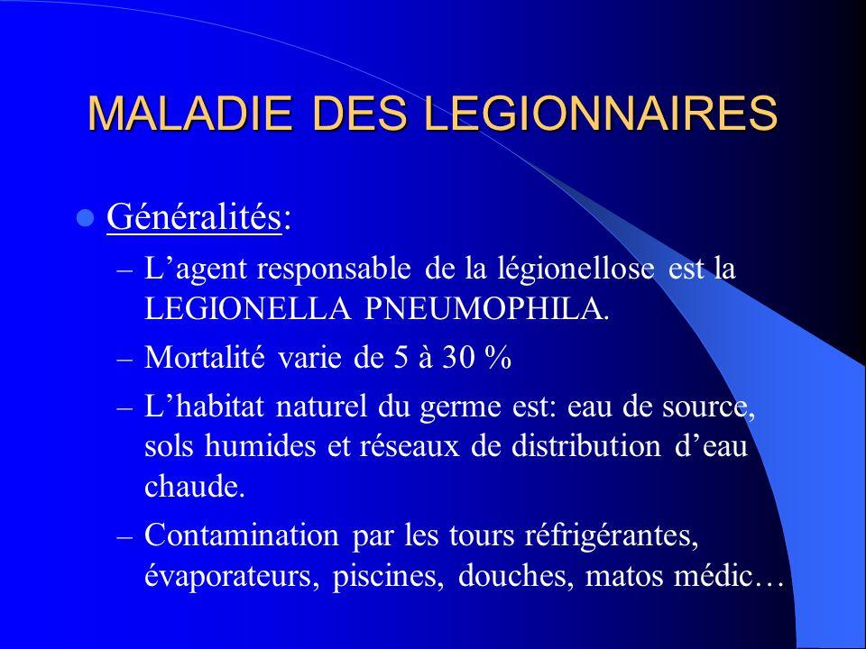 MALADIE DES LEGIONNAIRES Généralités: – Lagent responsable de la légionellose est la LEGIONELLA PNEUMOPHILA. – Mortalité varie de 5 à 30 % – Lhabitat