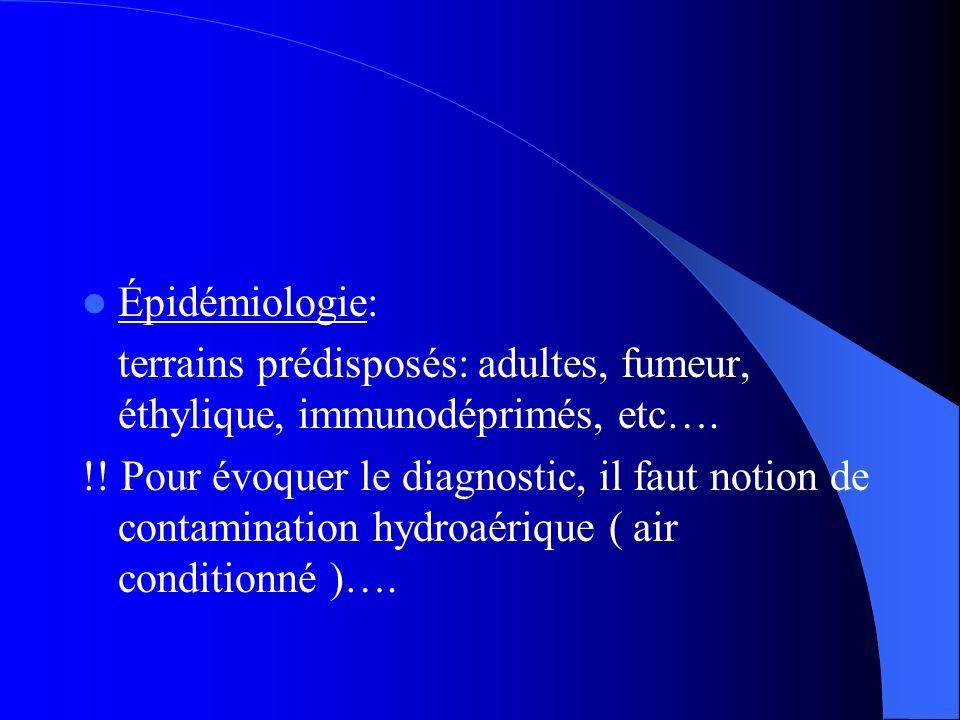 Épidémiologie: terrains prédisposés: adultes, fumeur, éthylique, immunodéprimés, etc…. !! Pour évoquer le diagnostic, il faut notion de contamination