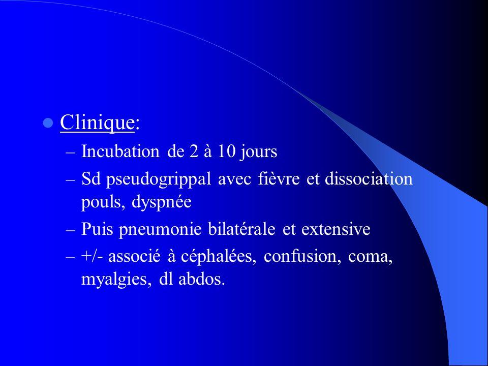 Clinique: – Incubation de 2 à 10 jours – Sd pseudogrippal avec fièvre et dissociation pouls, dyspnée – Puis pneumonie bilatérale et extensive – +/- as