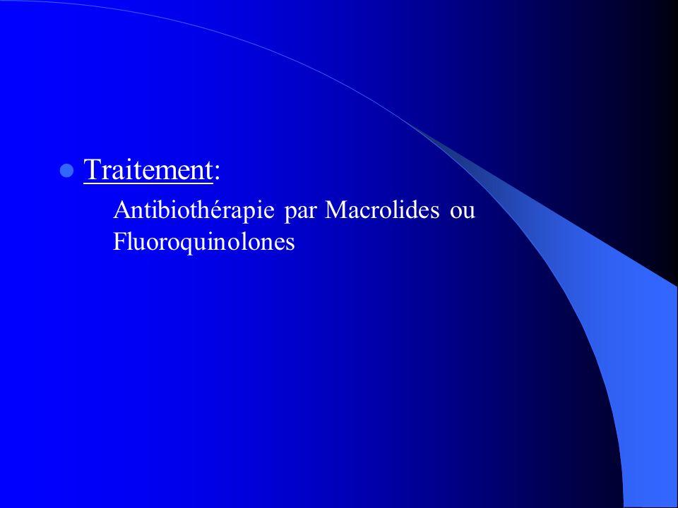 Traitement: Antibiothérapie par Macrolides ou Fluoroquinolones