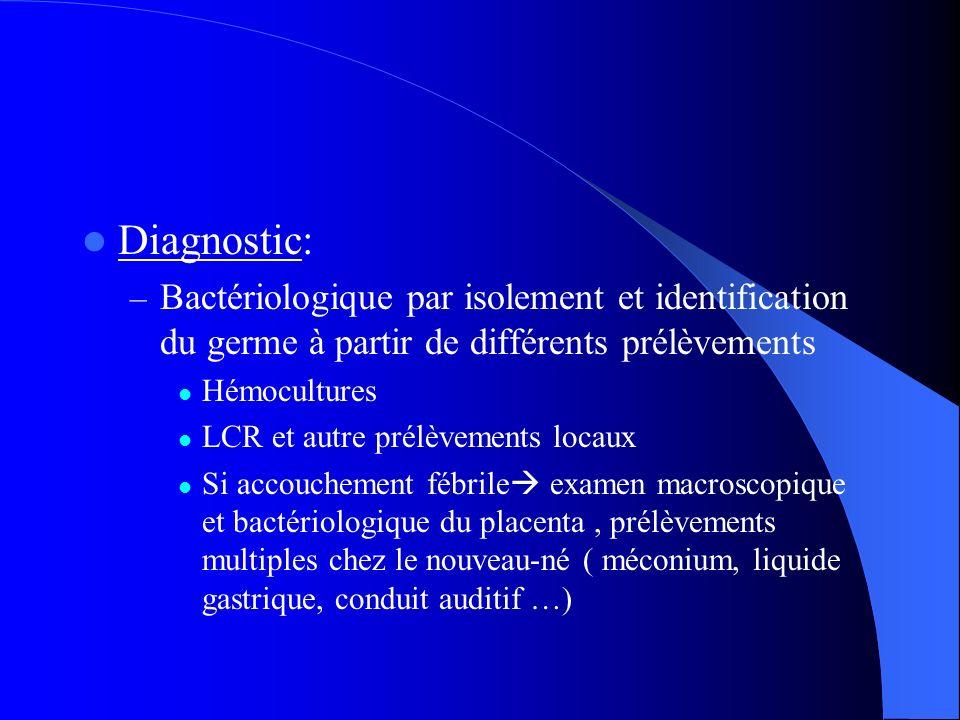 Diagnostic: – Bactériologique par isolement et identification du germe à partir de différents prélèvements Hémocultures LCR et autre prélèvements loca