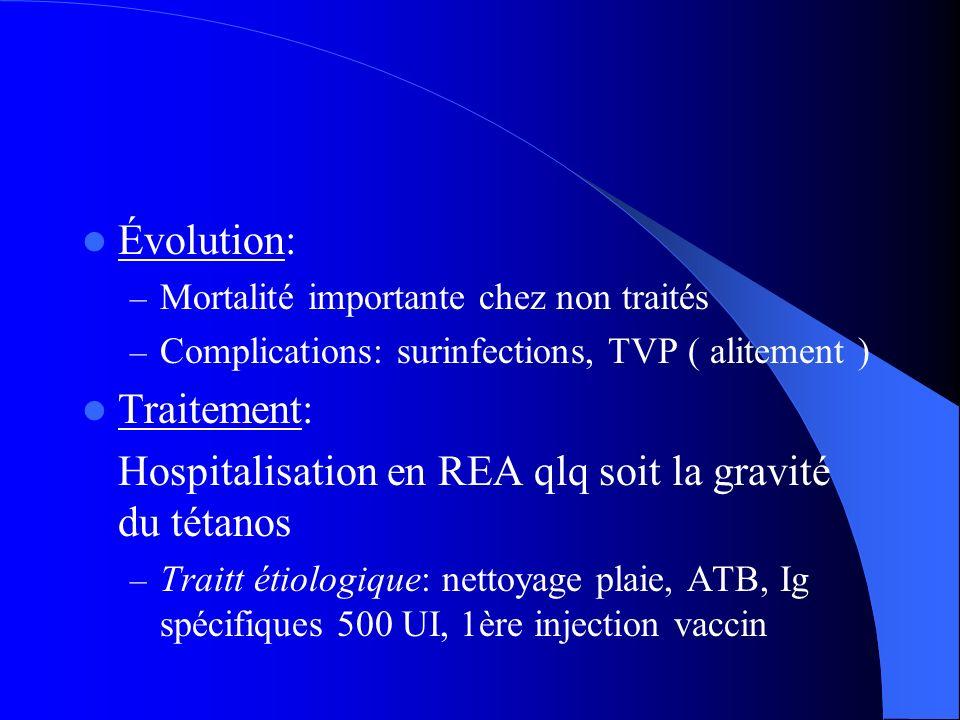 Évolution: – Mortalité importante chez non traités – Complications: surinfections, TVP ( alitement ) Traitement: Hospitalisation en REA qlq soit la gr