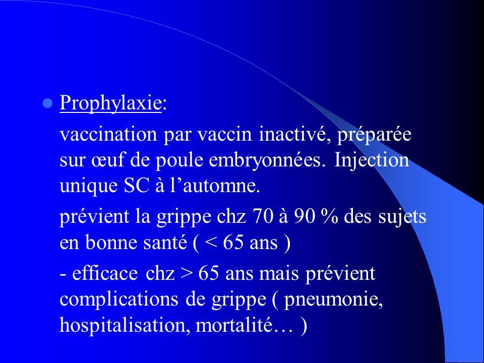 Prophylaxie: vaccination par vaccin inactivé, préparée sur œuf de poule embryonnées. Injection unique SC à lautomne. prévient la grippe chz 70 à 90 %
