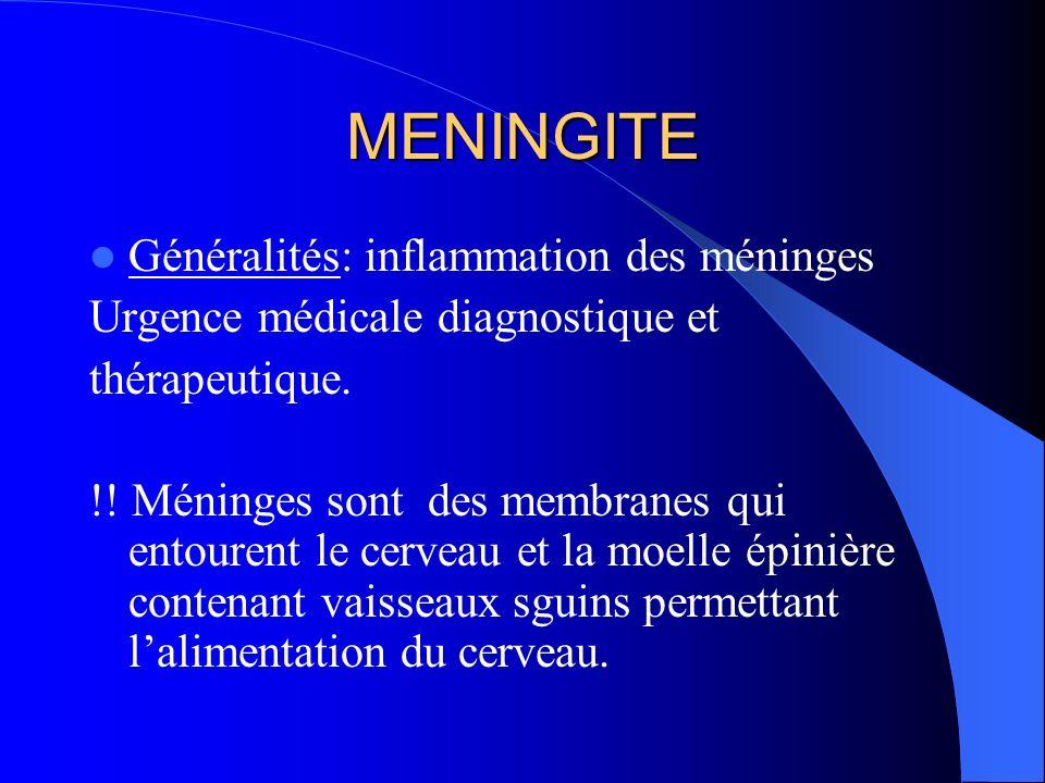 MENINGITE Généralités: inflammation des méninges Urgence médicale diagnostique et thérapeutique. !! Méninges sont des membranes qui entourent le cerve