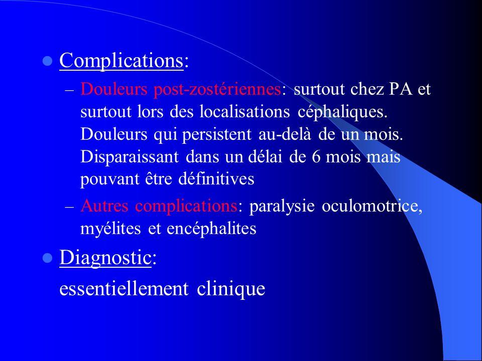 Complications: – Douleurs post-zostériennes: surtout chez PA et surtout lors des localisations céphaliques. Douleurs qui persistent au-delà de un mois
