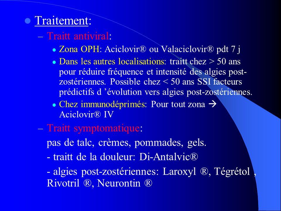 Traitement: – Traitt antiviral: Zona OPH: Aciclovir® ou Valaciclovir® pdt 7 j Dans les autres localisations: traitt chez > 50 ans pour réduire fréquen