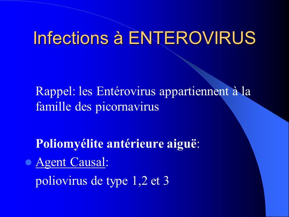 Infections à ENTEROVIRUS Rappel: les Entérovirus appartiennent à la famille des picornavirus Poliomyélite antérieure aiguë: Agent Causal: poliovirus d