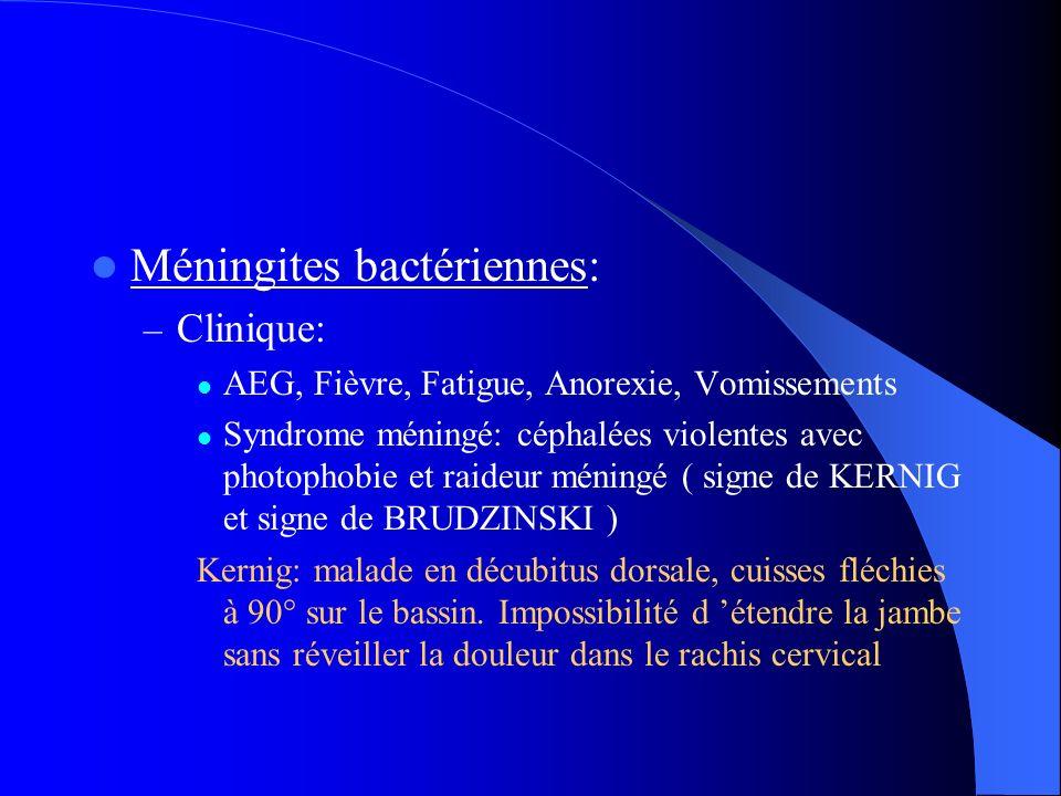Méningites bactériennes: – Clinique: AEG, Fièvre, Fatigue, Anorexie, Vomissements Syndrome méningé: céphalées violentes avec photophobie et raideur mé