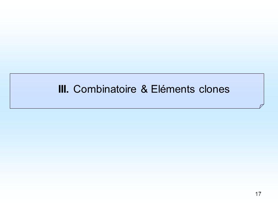 17 III. Combinatoire & Eléments clones