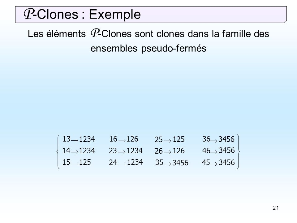 21 13 14 15 16 23 24 25 26 35 36 45 46 1234 125 1234 126 1234 125 126 3456 3456 P -Clones : Exemple Les éléments P -Clones sont clones dans la famille des ensembles pseudo-fermés