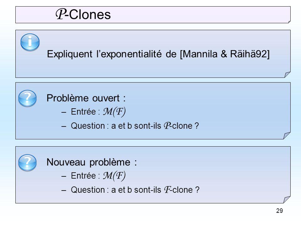 29 Problème ouvert : –Entrée : M(F) –Question : a et b sont-ils P -clone .