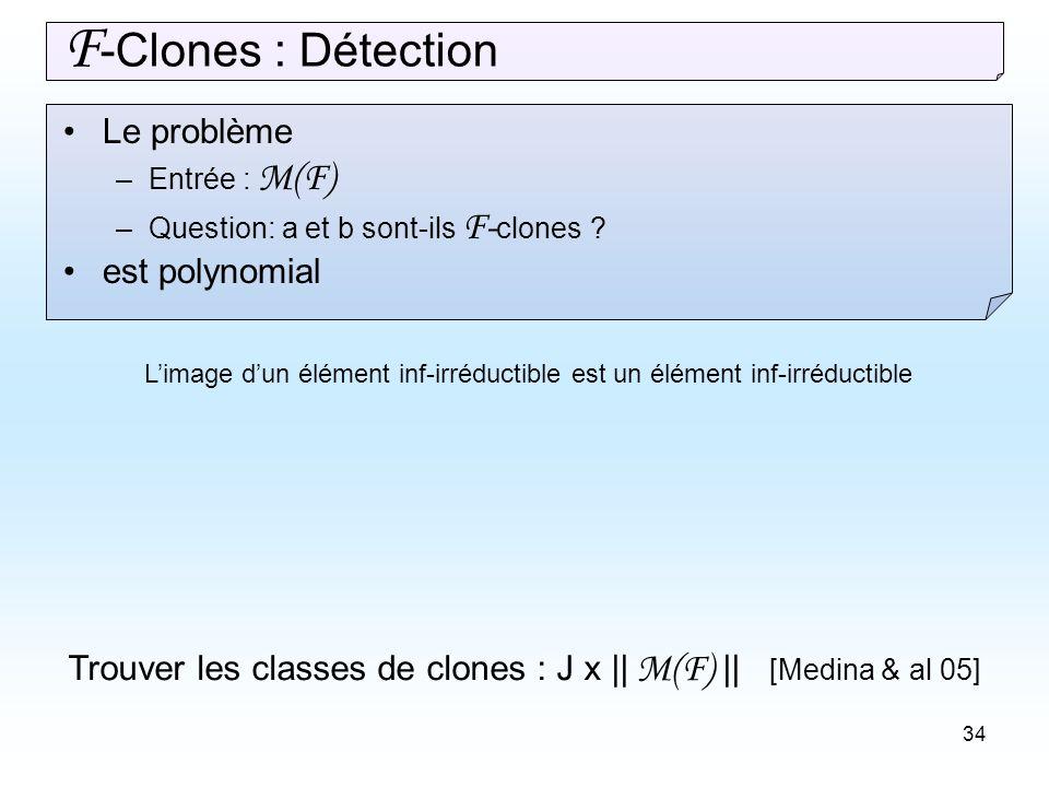 34 Le problème –Entrée : M(F) –Question: a et b sont-ils F- clones .